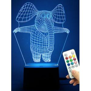 Remote Control Color Change LED 3D Elephant Night Light - Transparent