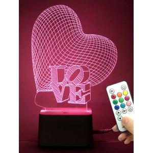 Best Gift 3D Visual Love Heart Color Change Night Light