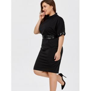 Sequined Belted Knee Length Dress with Sleeves - BLACK 2XL