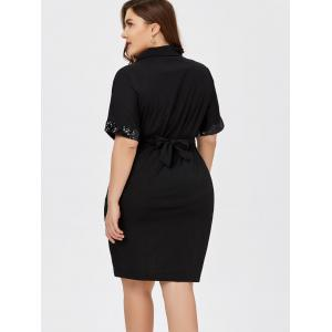 Sequined Belted Plus Size Sheath Dress - BLACK 2XL