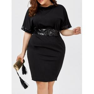 Sequined Belted Plus Size Sheath Dress - Black - 5xl