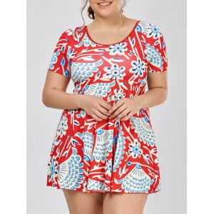 Plus Size Short Sleeve Skirted One Piece Swimsuit