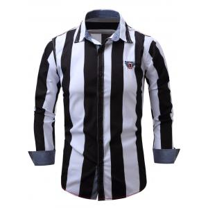 Embroidered Design Vertical Striped Long Sleeve Shirt - Black - 2xl
