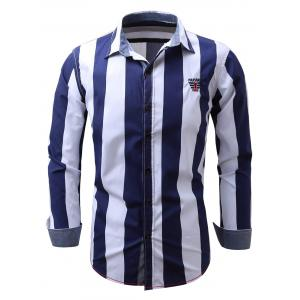 Embroidered Design Vertical Striped Long Sleeve Shirt