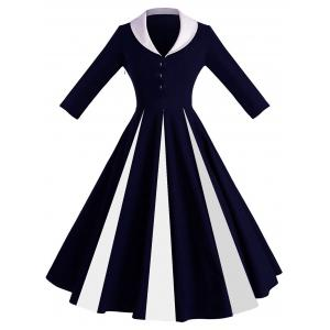 Color Block Shawl Collar Pin Up Dress