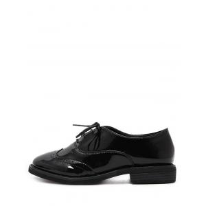 Patent Leather Wingtip Flat Shoes - BLACK 39