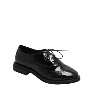 Patent Leather Wingtip Flat Shoes