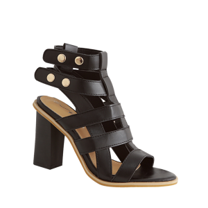 Slingback Gladiator Sandals with Heel - Black - 39