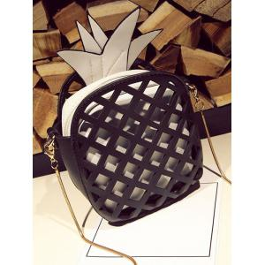 Hollow Out Pineapple Shaped Crossbody Bag - BLACK