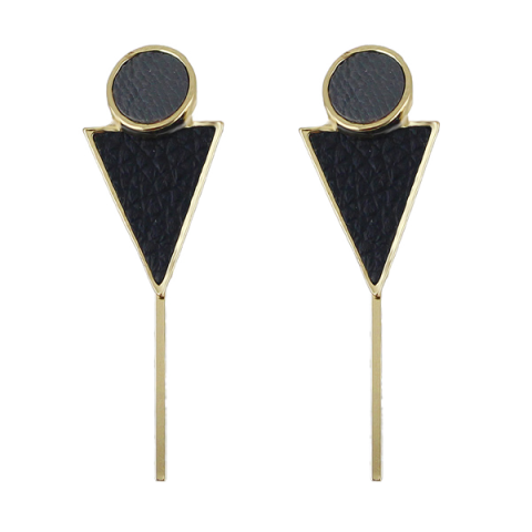 Circle Triangle Bar Earrings - BLACK