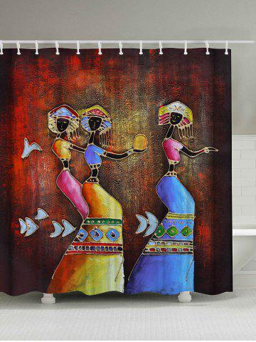 Latest Ethnic Mural Art Printed Anti-bacteria Shower Curtain COLORMIX 180*200CM
