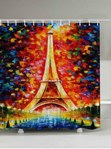 Best Oil Painting Eiffel Tower Mildew Resistant Shower Curtain COLORMIX 180*200CM