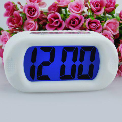 Snooze Alarm LED Digital Clock Silicone Blanc