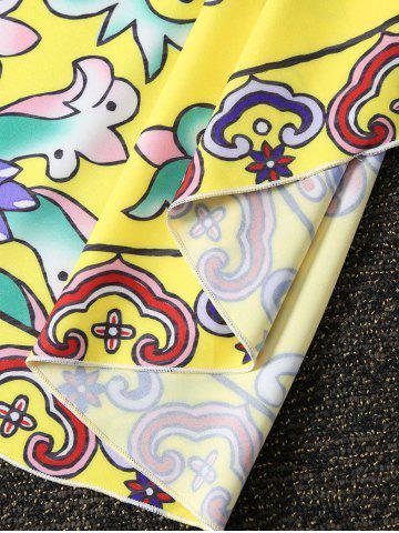 Fancy Vintage Printed Round Beach Throw - ONE SIZE YELLOW Mobile