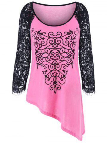 New Lace Trim Raglan Sleeve Asymmetrical T-Shirt PINKBEIGE M