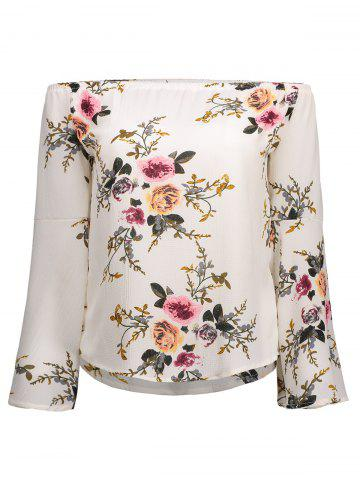Cheap Off Shoulder Bell Sleeve Floral Print T-Shirt