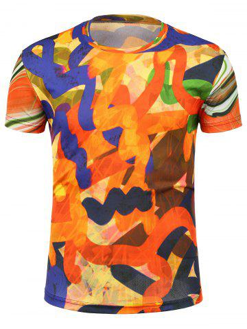 New Irregular Linellae Print Crew Neck T-Shirt - 3XL COLORMIX Mobile