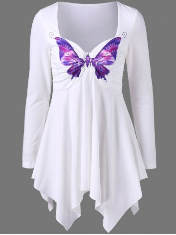 Outfit Long Sleeve Butterfly Print Empire Waist Asymmetrical T-Shirt WHITE M