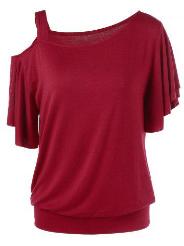 Sale Skew Collar Drape Sleeve T-Shirt