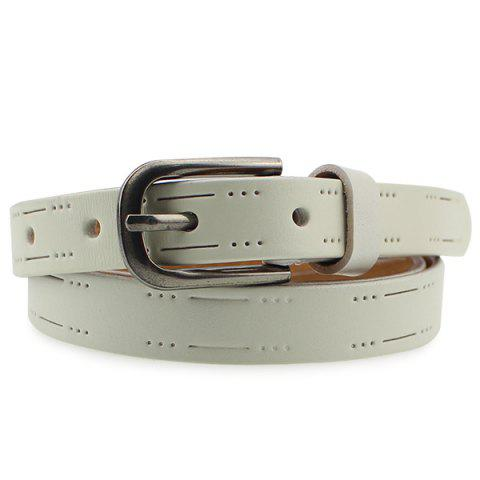 Discount Pin Buckle Small Hole Skinny Belt - WHITE  Mobile