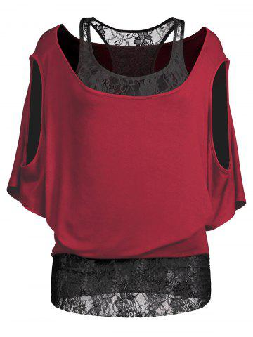 Outfits Cold Shoulder Batwing Lace Blouse WINE RED 2XL
