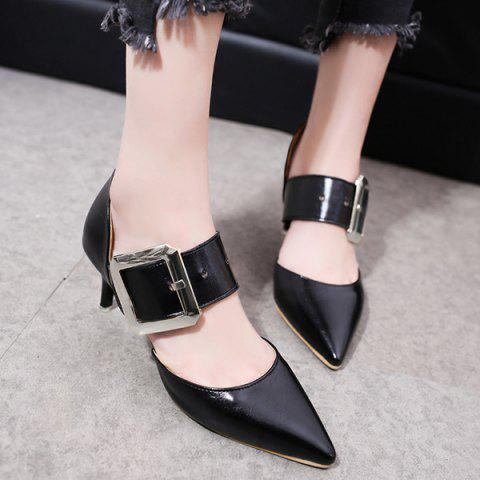 Sale Buckle Strap PU Leather Pumps BLACK 39