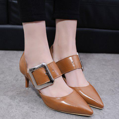 Buckle Strap PU Leather Pumps - Brown - 38