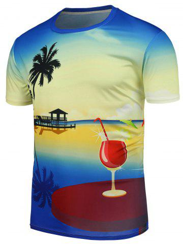 Hawaiian Style Crew Neck T-Shirt Multicolore 4XL
