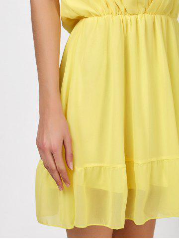 Outfit Mini Plunging V Neck Chiffon Club A Line Dress - XL YELLOW Mobile