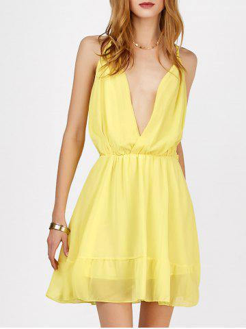 Mini Plunging V Neck Chiffon Dress - YELLOW M