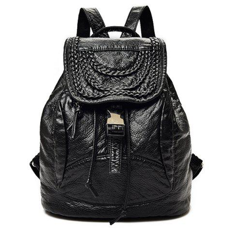 Outfit Casual Faux Leather Braided Backpack BLACK