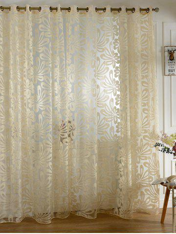 Home Decor Grommet Roller Embroidered Tulle Curtain - Beige - 100*250cm