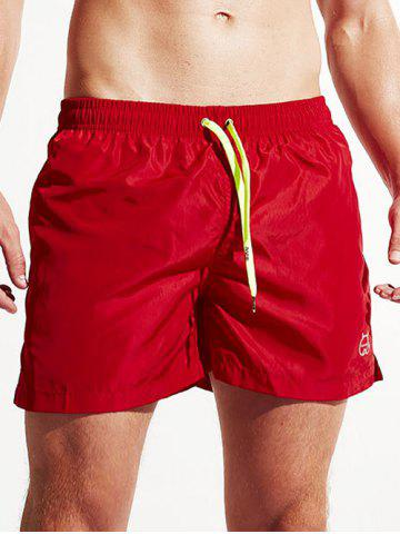 Pocket Drawstring Swimming Trunks - Red - Xl