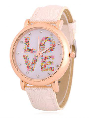 Trendy Fuax Leather Rhinestone Floral Love Watch