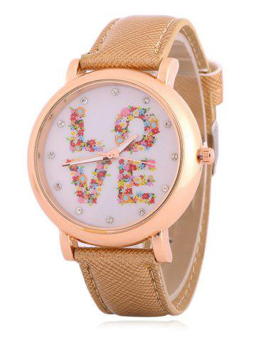 Hot Faux Leather Rhinestone Floral Love Watch
