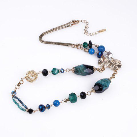 Hot Bohemian Faux Gem Beads Sweater Chain - BLUE GREEN  Mobile