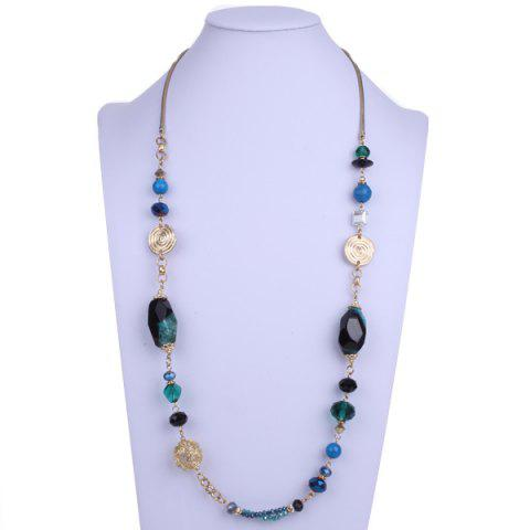 Shop Bohemian Faux Gem Beads Sweater Chain - BLUE GREEN  Mobile
