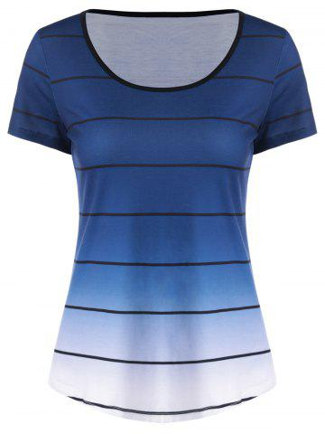 Buy Striped Ombre Curved T-Shirt