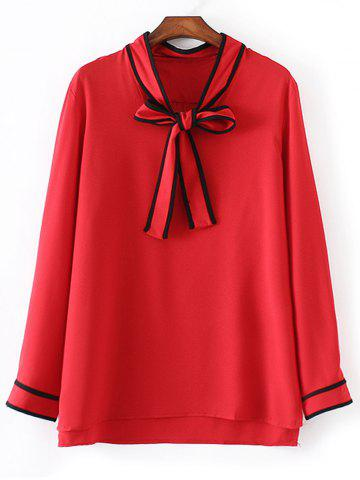 Bow Tie Long Sleeve Plus Size Blouse - Red - 4xl