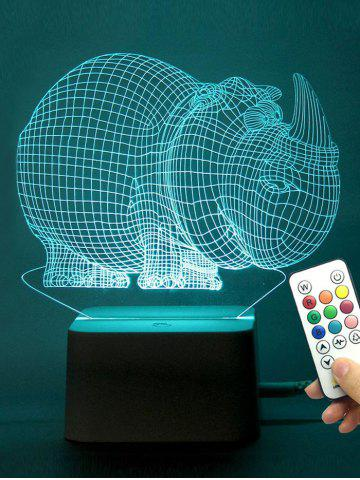 Affordable Holiday Gift Rhinoceros Shaped LED Color Change Night Light