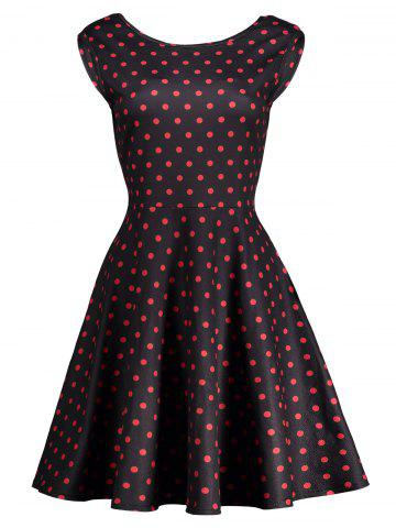 Taille haute à pois Cut Out bowknot Robe