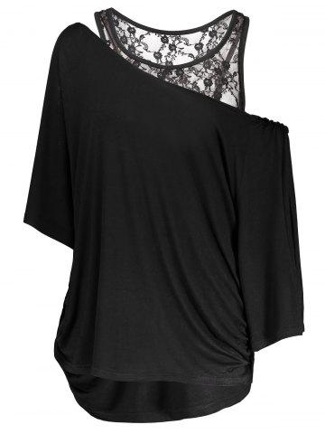 Fashion Skew Neck Tee and Racerback Tank Top BLACK XL