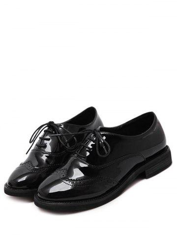 New Patent Leather Wingtip Flat Shoes - 39 BLACK Mobile