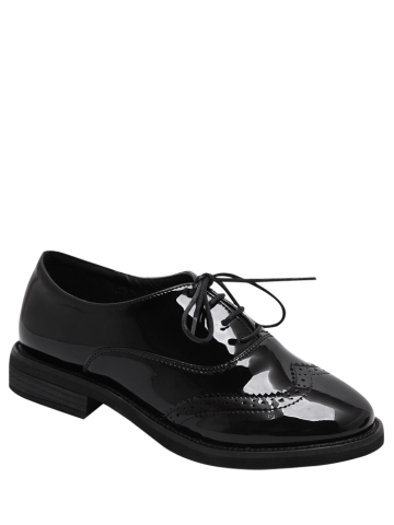 Shops Patent Leather Wingtip Flat Shoes BLACK 39