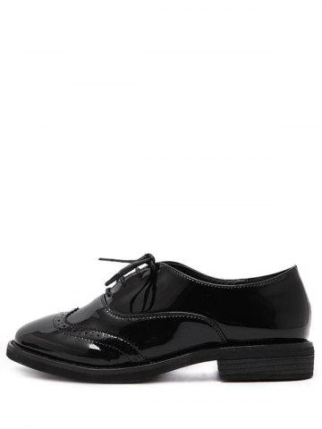 Store Patent Leather Wingtip Flat Shoes - 39 BLACK Mobile