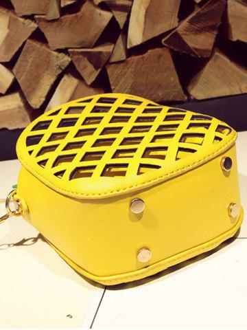 Outfits Hollow Out Pineapple Shaped Crossbody Bag - YELLOW  Mobile