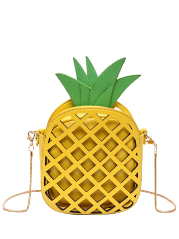 Fancy Hollow Out Pineapple Shaped Crossbody Bag YELLOW