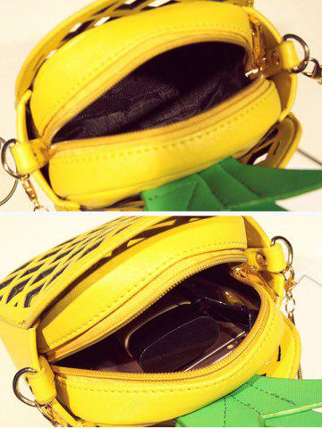 Hot Hollow Out Pineapple Shaped Crossbody Bag - YELLOW  Mobile