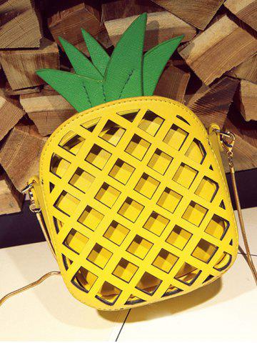 Fashion Hollow Out Pineapple Shaped Crossbody Bag - YELLOW  Mobile