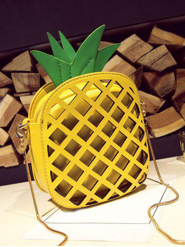 Shop Hollow Out Pineapple Shaped Crossbody Bag - YELLOW  Mobile